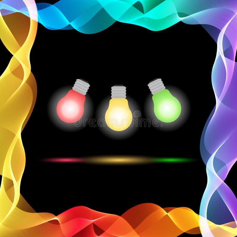 在黑背景的传染媒介抽象五颜六色的波浪 皇族释放例证