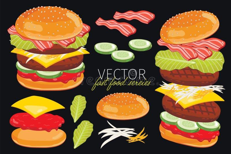 在黑背景的传染媒介汉堡 向量例证