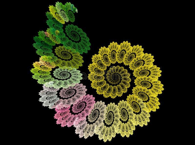 在黑背景的分数维抽象花螺旋 免版税库存图片