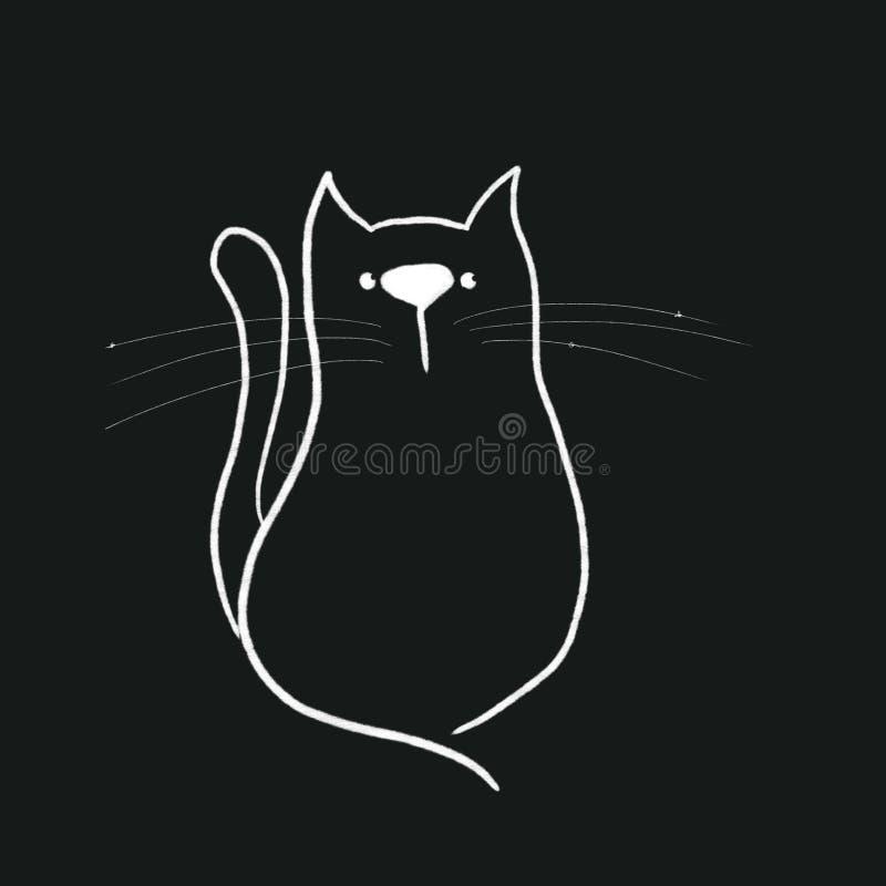 在黑背景的剪影猫 向量例证