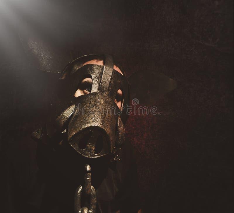 在黑背景的可怕黑暗的猪人面孔 图库摄影