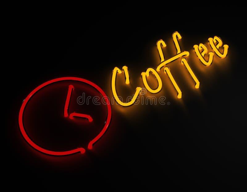 在黑背景的咖啡霓虹灯广告 免版税库存图片