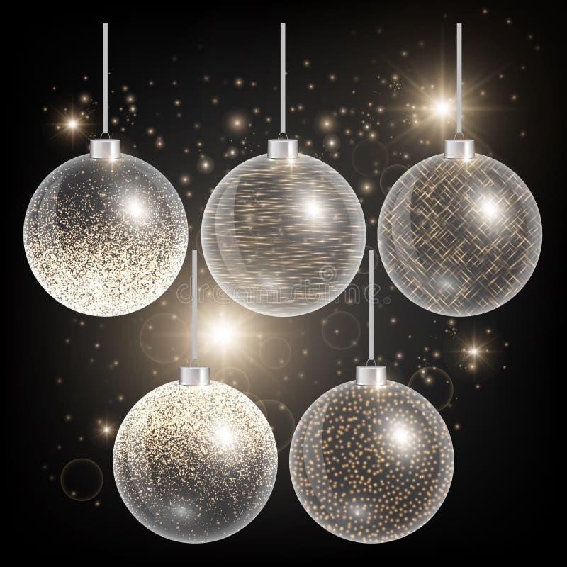 在黑背景的圣诞节球与金子闪烁 库存例证
