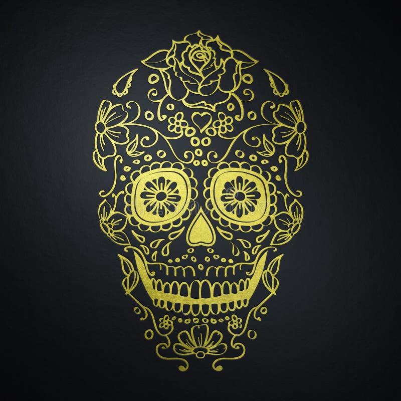 在黑背景的墨西哥糖头骨 皇族释放例证