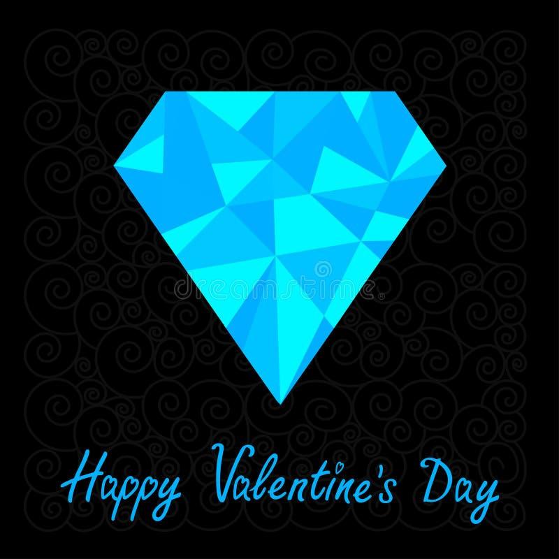 在黑背景的大蓝色多角形金刚石 皇族释放例证