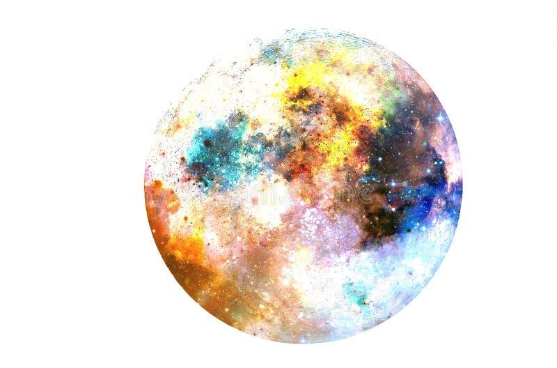 在黑背景的宇宙空间和月亮拼贴画 免版税图库摄影