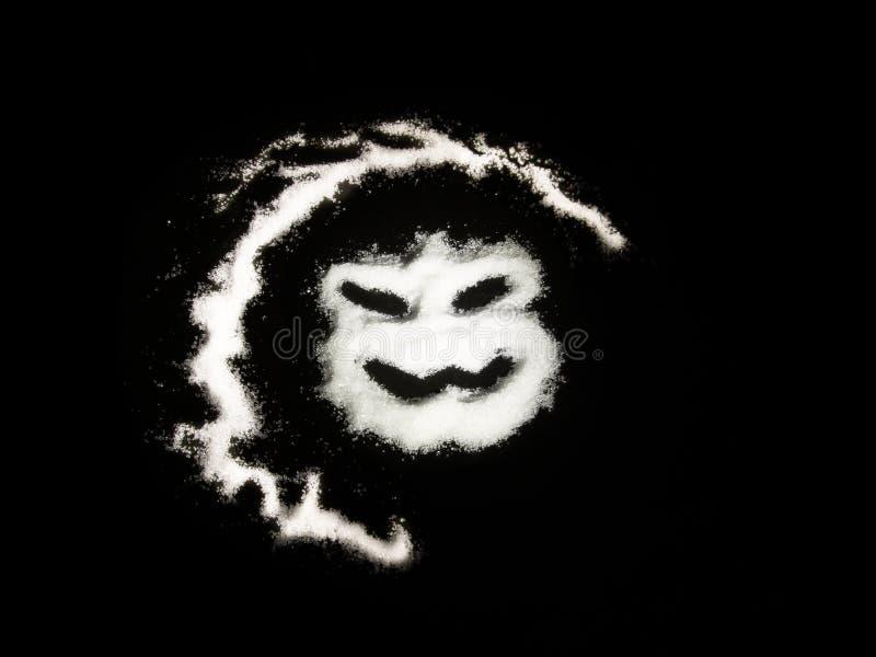 在黑背景的恐怖邪恶的面孔 免版税库存图片
