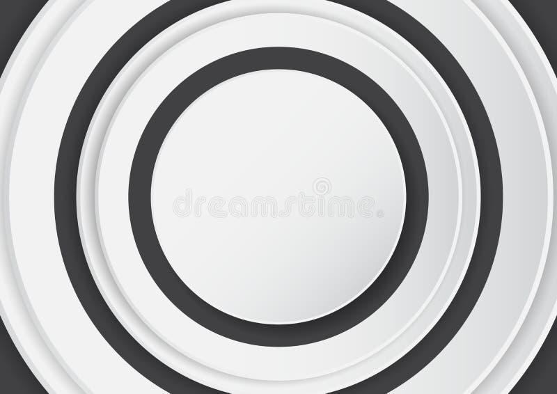 在黑背景的抽象白色圈子与纸艺术样式 向量例证