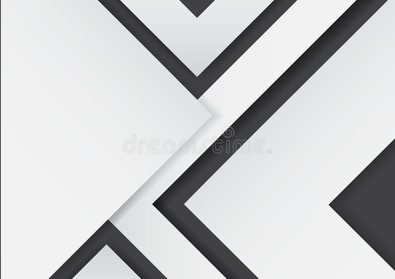 在黑背景的抽象白色箭头与纸艺术样式 皇族释放例证