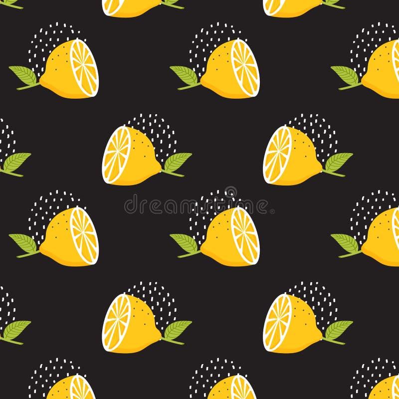 在黑背景的柠檬样式 无缝柠檬的模式 夏天背景 印刷品纹理 织品设计 库存例证