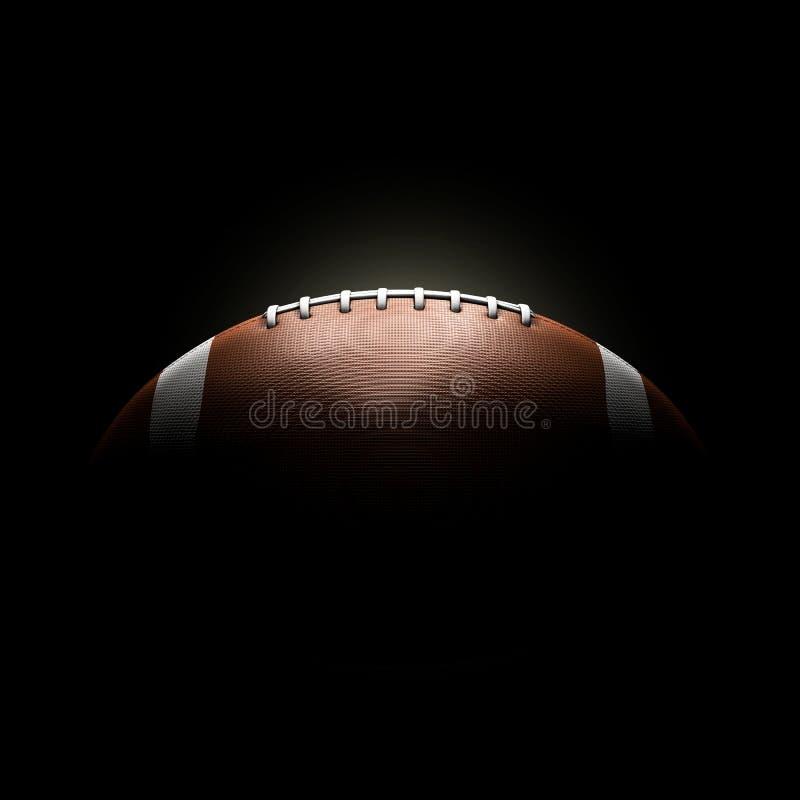 在黑背景的橄榄球球 库存例证