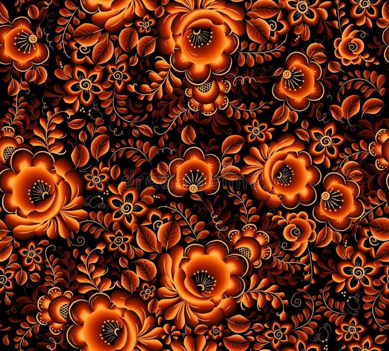 在黑背景的橙色花卉无缝的样式在俄国传统hohloma样式 皇族释放例证