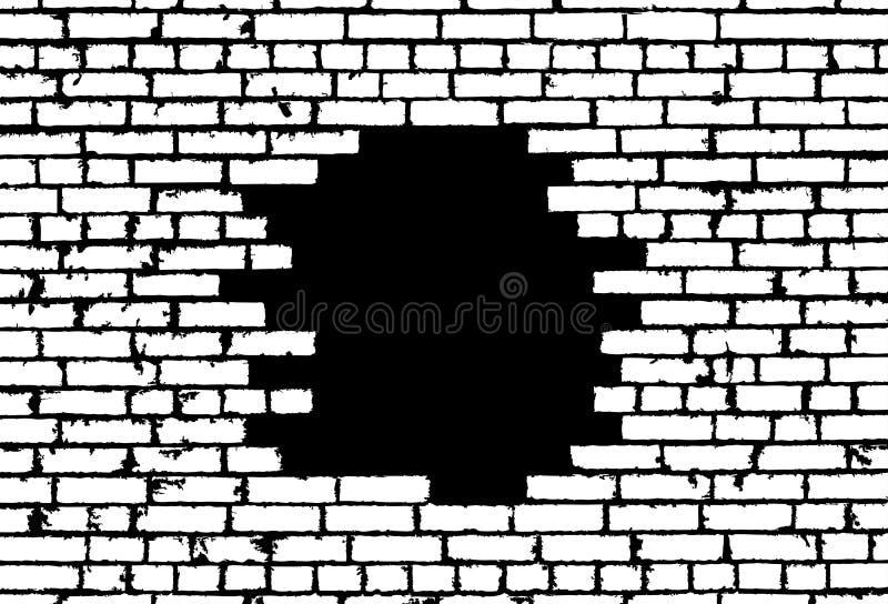在黑背景的残破的现实老白色砖墙概念 向量例证