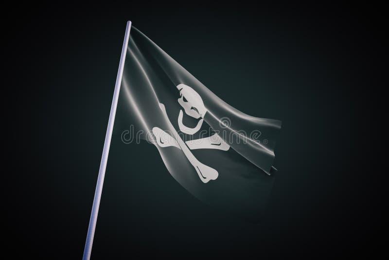 在黑背景的海盗旗子 库存例证