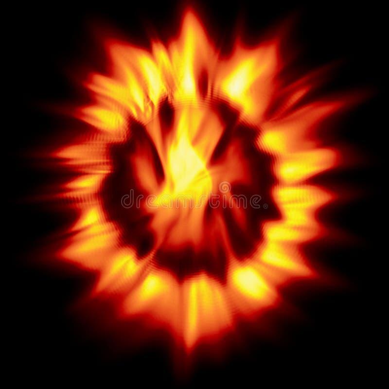 在黑背景的火热的花 向量例证