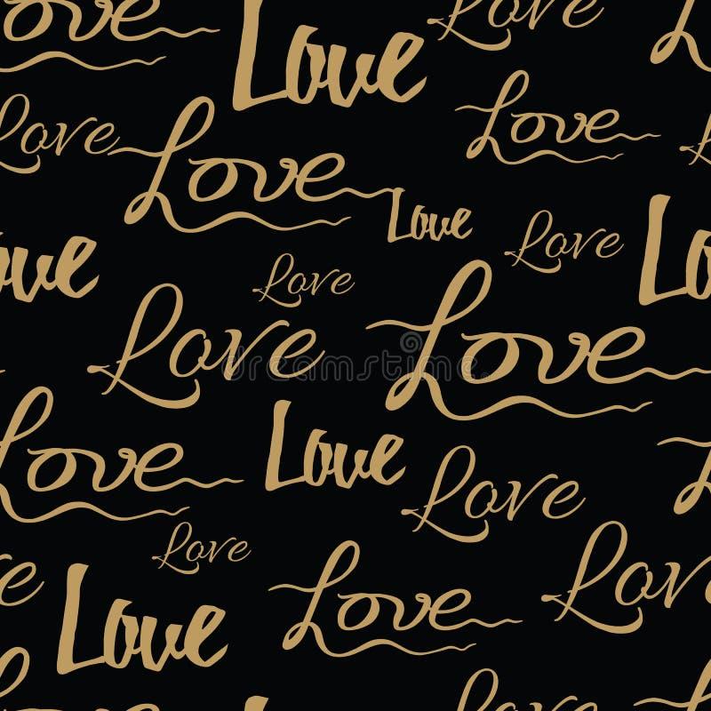 在黑背景的爱书法无缝的样式 手拉的向量例证 库存例证