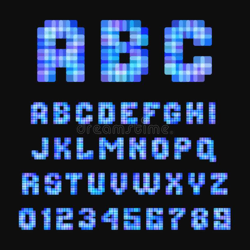 在黑背景的现代霓虹映象点字体 库存例证