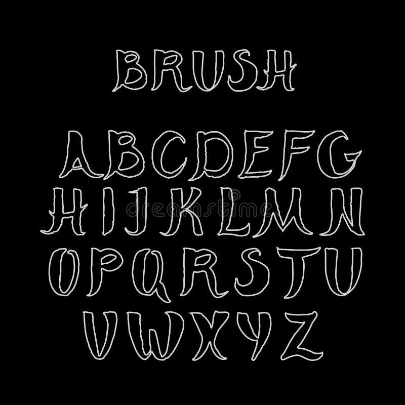 在黑背景的白色手写的书法字母表 做在刷子样式 皇族释放例证