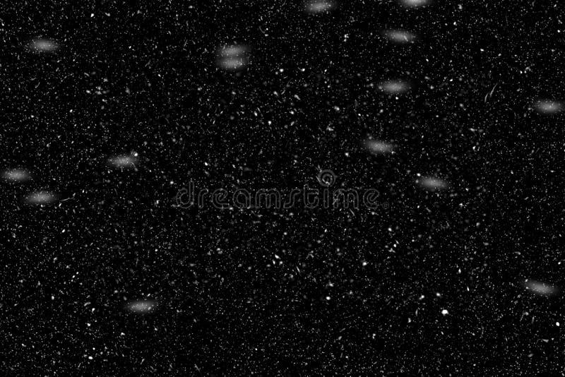 在黑背景的真正的落的雪 库存照片