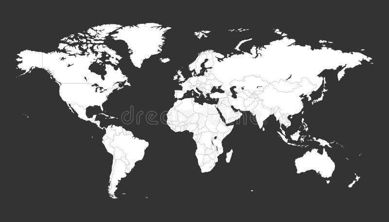 在黑背景的空白的白色政治世界地图 库存例证