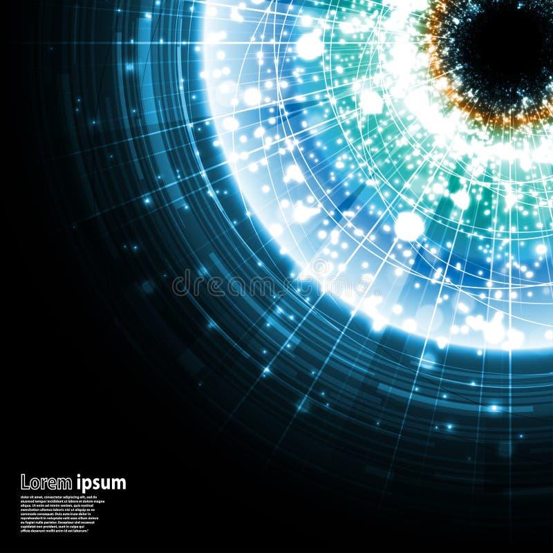 在黑背景的蓝色星系爆炸 库存例证
