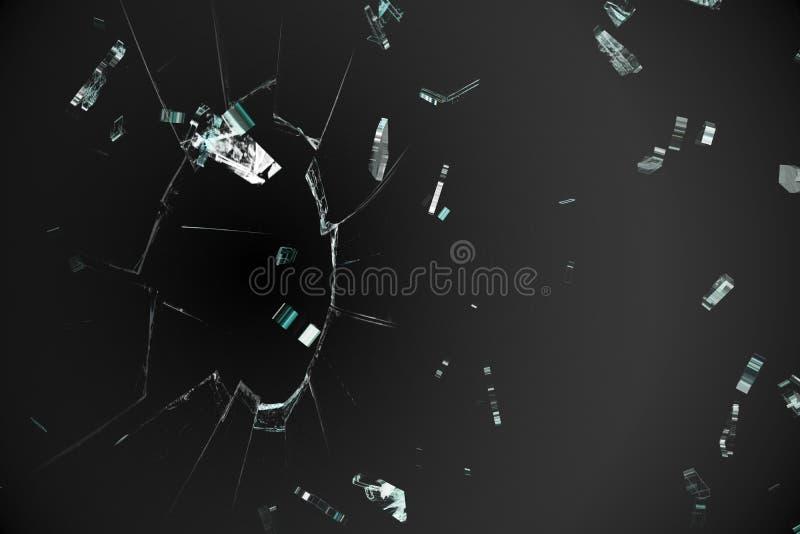 在黑背景的被打碎的玻璃 库存例证