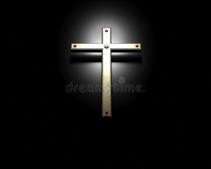 在黑背景的金十字架 皇族释放例证