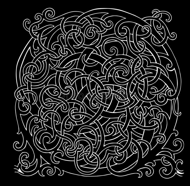 在黑背景的难题圈传染媒介白色迷宫 向量例证