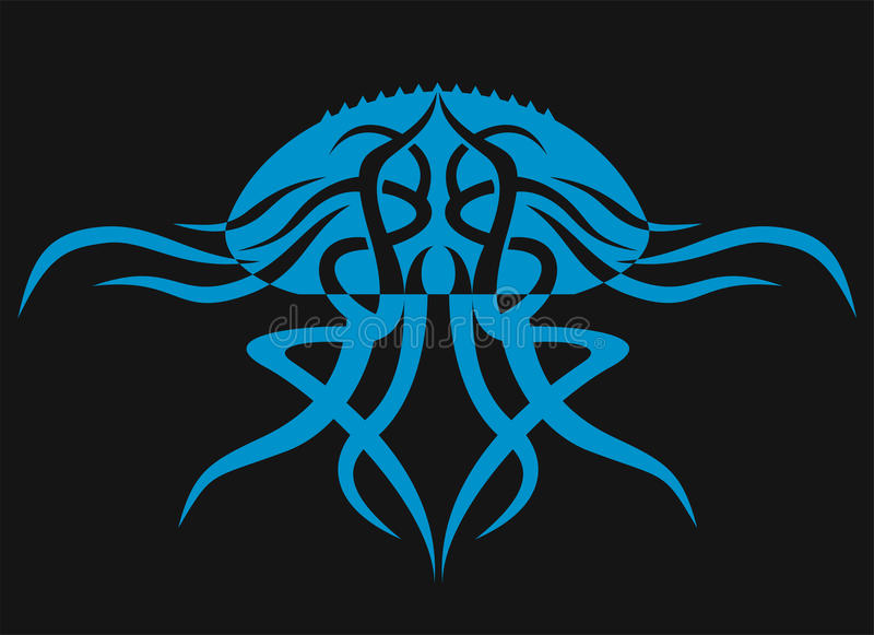 在黑背景的水母 动物剪影 库存图片