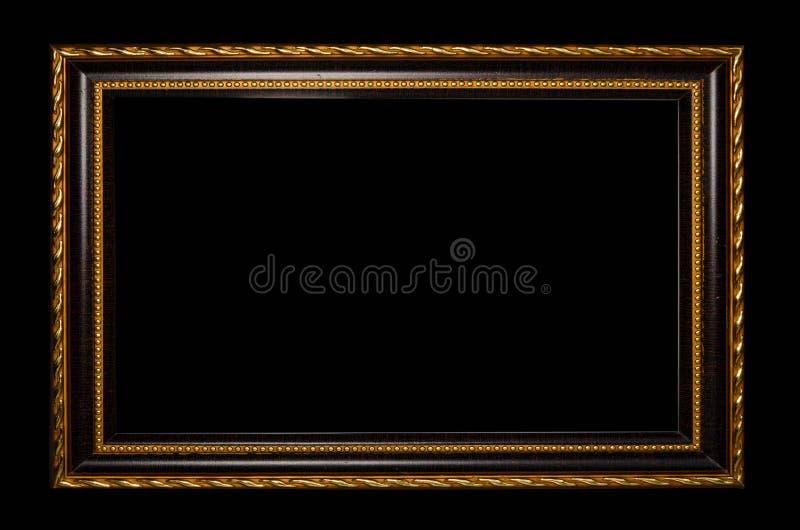 在黑背景的画的木框或图片 库存照片
