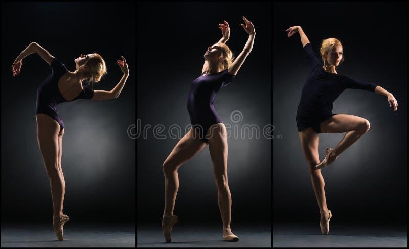 在黑背景的年轻美好的芭蕾舞女演员跳舞 拼贴画 图库摄影