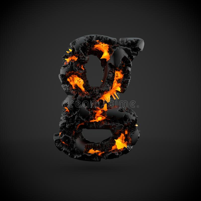 在黑背景隔绝的火山的字母表信件G小写 免版税库存照片
