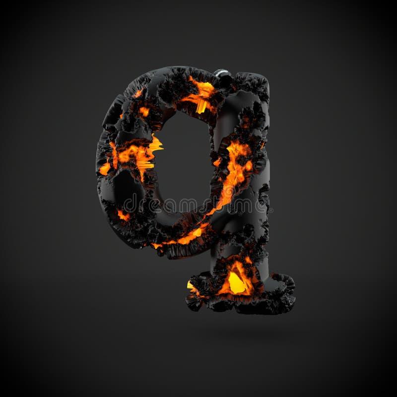 在黑背景隔绝的火山的字母表信件Q小写 库存图片