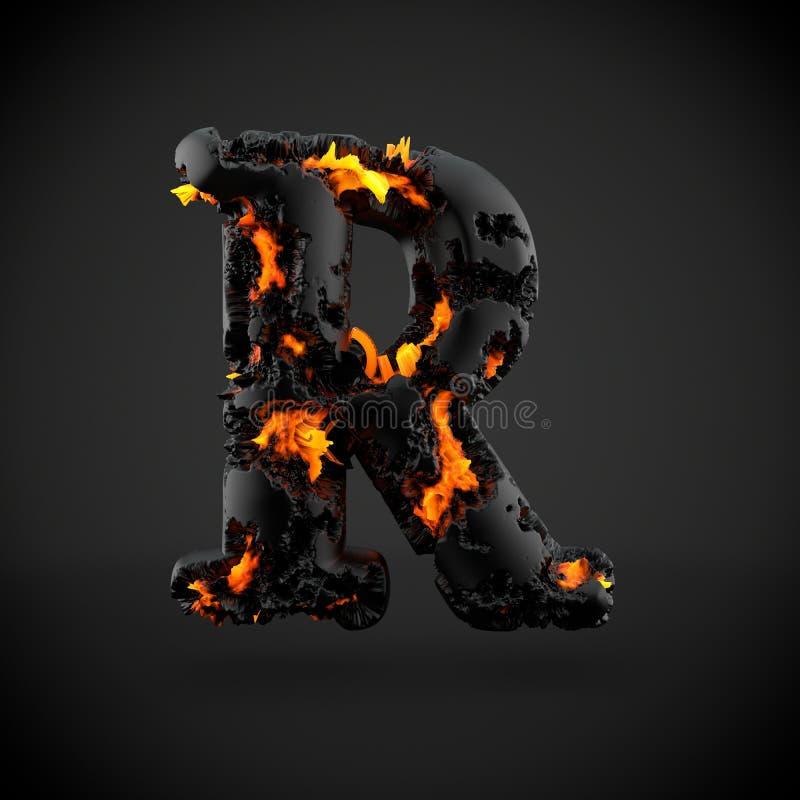 在黑背景隔绝的火山的字母表信件R大写 免版税库存照片