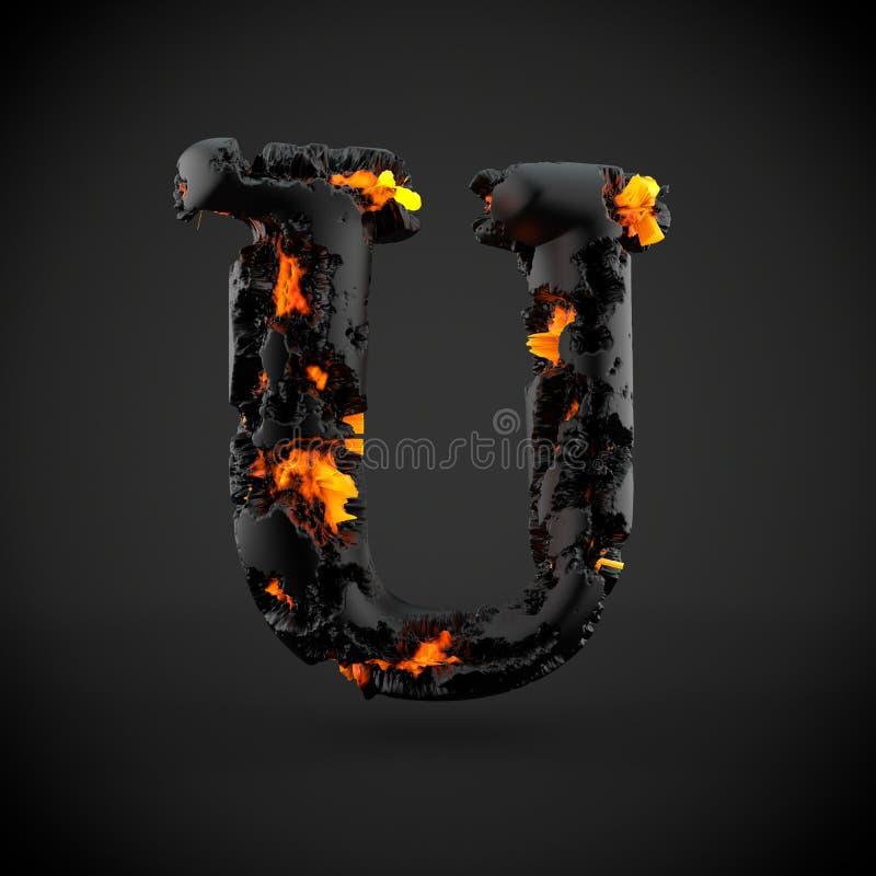 在黑背景隔绝的火山的字母表信件U大写 免版税库存图片