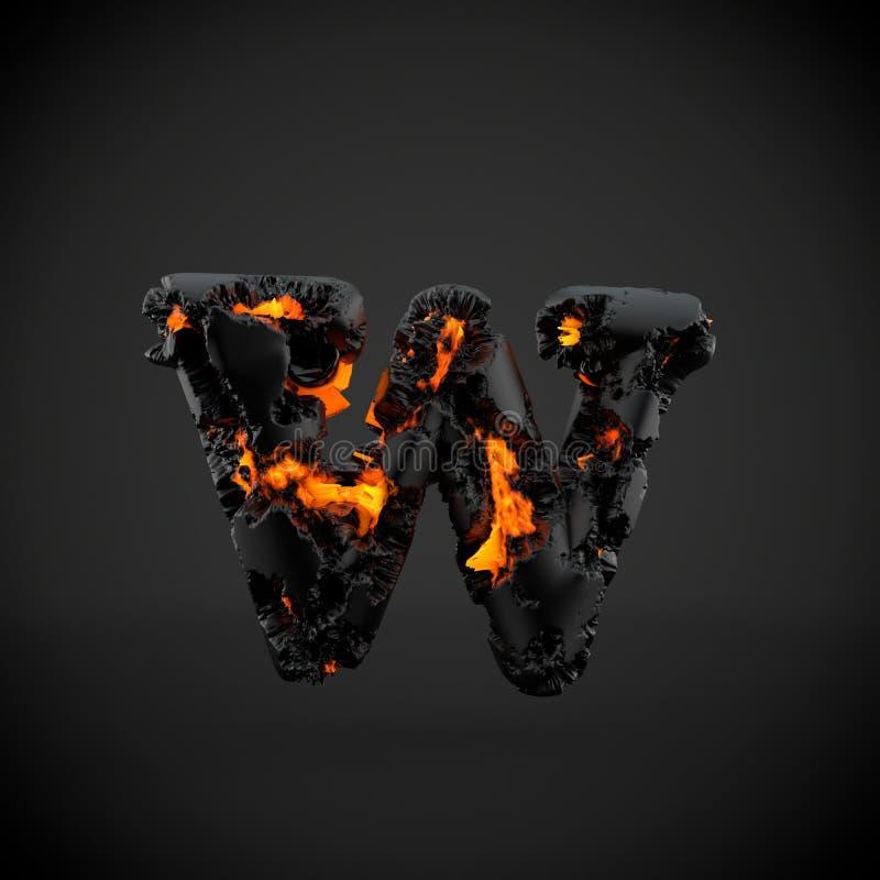 在黑背景隔绝的火山的字母表信件W小写 免版税库存图片