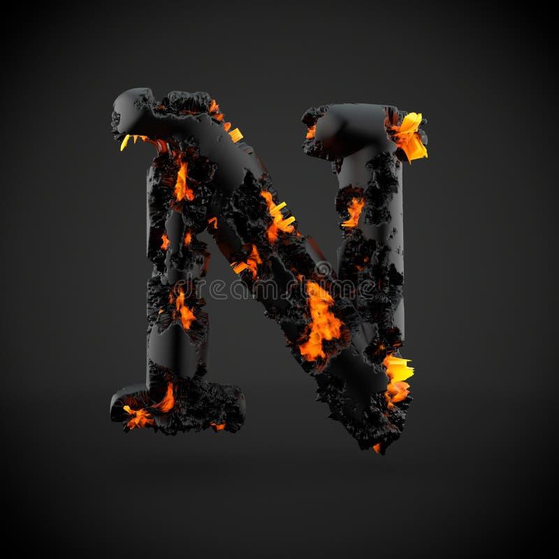 在黑背景隔绝的火山的字母表字母N大写 库存图片