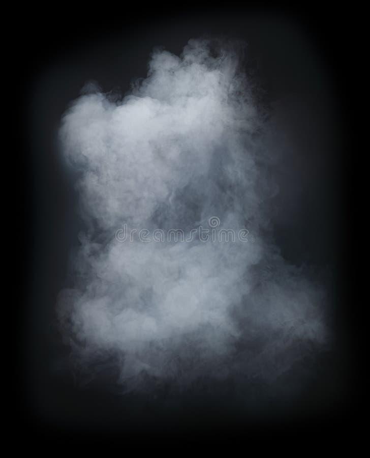 在黑背景隔绝的白色烟 免版税库存照片