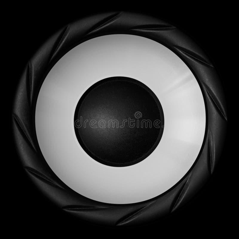 在黑背景隔绝的白色音频报告人 库存例证