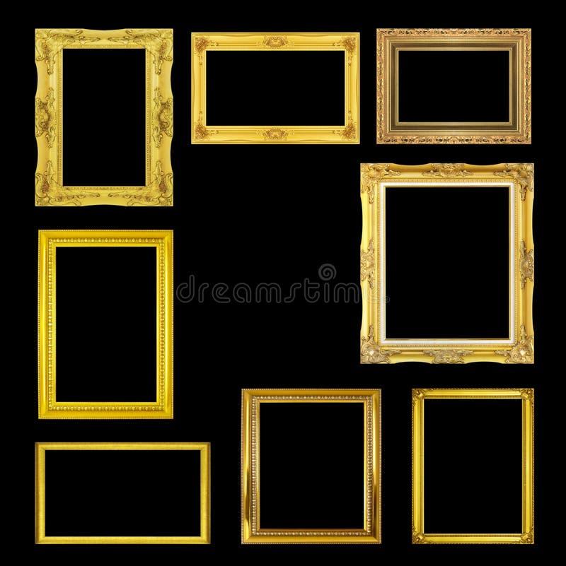 在黑背景隔绝的金黄框架 库存图片