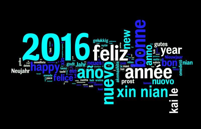 2016年在黑背景,在许多语言翻译的新年的贺卡 向量例证