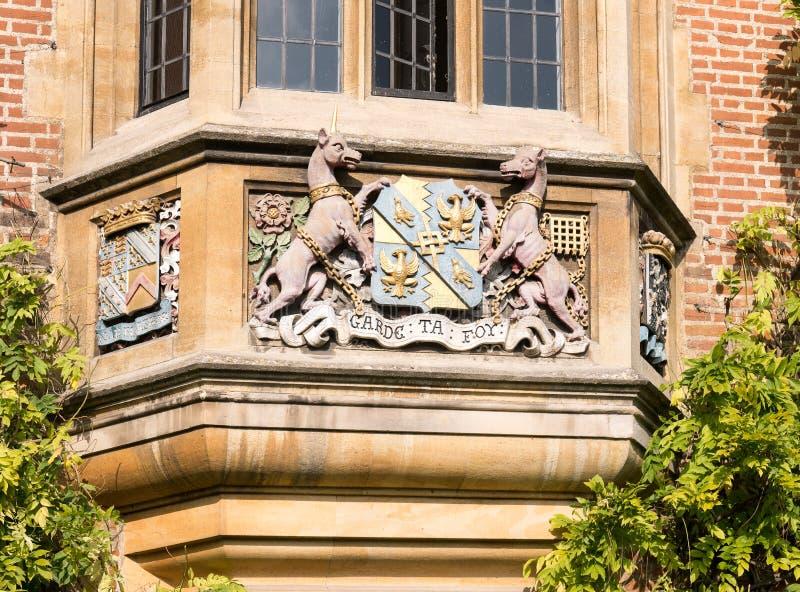 在从良的妓女学院,剑桥,英国的座右铭 免版税库存照片