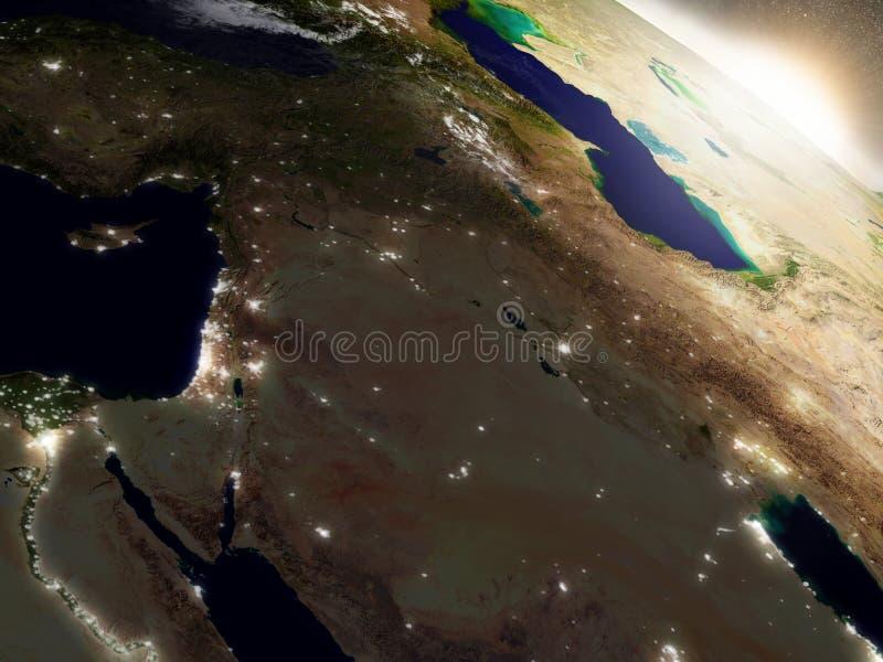 在以色列、黎巴嫩、约旦、叙利亚和伊拉克地区的日出 向量例证