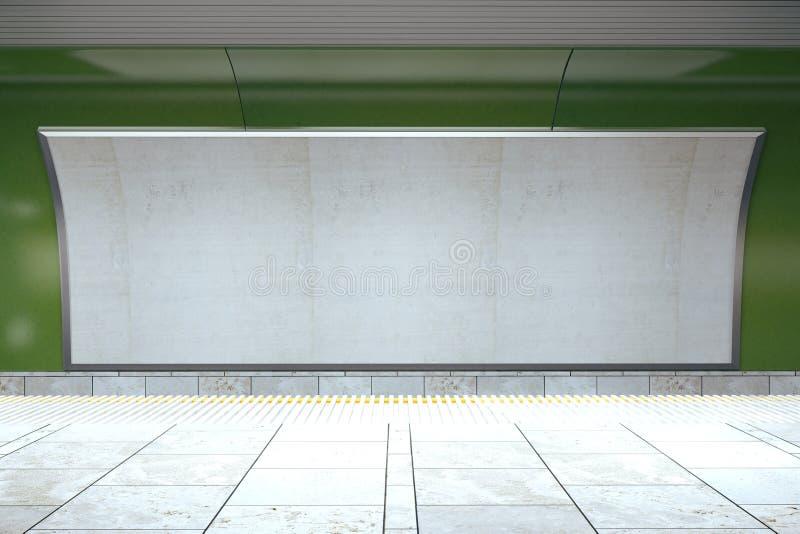 在绿色地铁墙壁上的空白的广告牌在空的大厅里 图库摄影