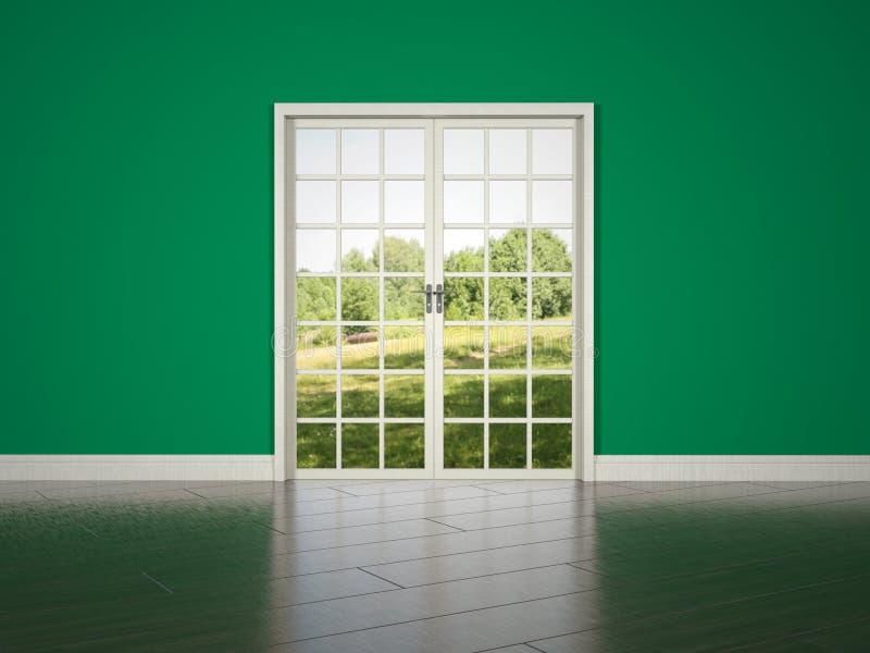 在绿色墙壁背景的白色rrom门 库存图片