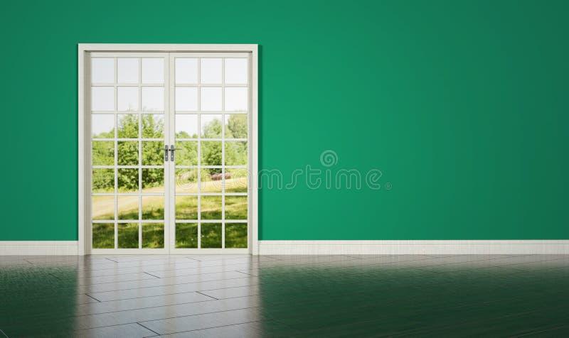在绿色墙壁背景的白色rrom门 库存照片