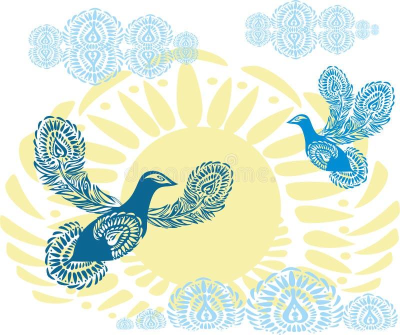 在黄色太阳背景的蓝色和平鸽与云彩的 天堂鸟往天空的飞行 被仿造的鸟 库存例证