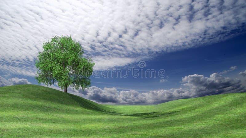 在绿色山谷的风雨如磐的天空 库存例证