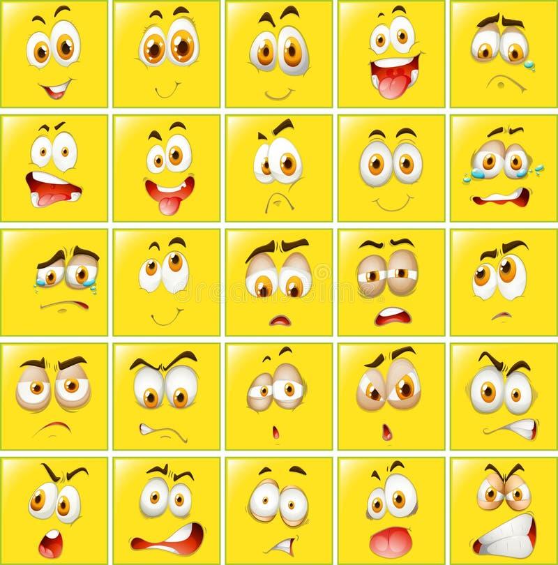 Download 在黄色徽章的表情 向量例证. 插画 包括有 惊吓, 愉快, 背包, 表面, 感觉, 面部, 许多, 哭泣 - 59107988