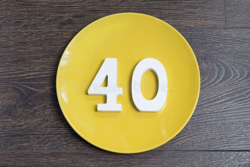 在黄色板材的第四十 图库摄影